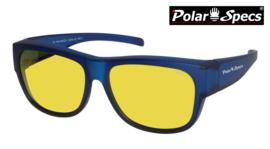 Polar Specs® Overzet Nachtbril PS5096 – Mat Navy Blue Satin  – Polarized Nightdriving – Large – Unisex