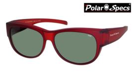 Polar Specs® Overzet Zonnebril PS5097 – Mat Burgundy Red Satin  – Polarized Green – Medium – Unisex