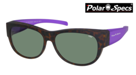 Polar Specs® Overzet Zonnebril PS5097 – Mat Havana/Purple – Polarized Green – Medium – Women