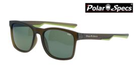 Polar Specs® Polariserende Zonnebril Wayfarer Sport PS9016 – Mat Bruin/Groen – Polariserend Groen – Medium/Large