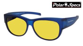 Polar Specs® Overzet Nachtbril PS5097 – Mat Navy Blue Satin  – Polarized Nightdriving – Medium – Unisex