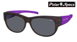 Polar Specs® Overzet Zonnebril PS5097 – Mat Havana/Purple – Polarized Black – Medium – Women