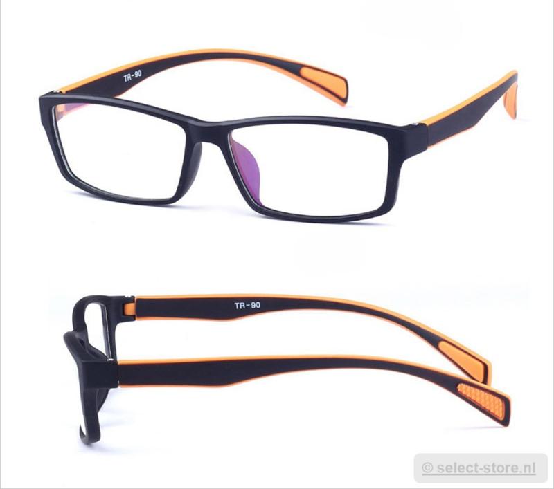 Beeldschermbril AR-Blue, Zwart/Oranje montuur, diopter+0.12