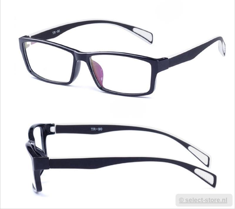Beeldschermbril AR-Blue, Zwart/Wit montuur, diopter+0.12