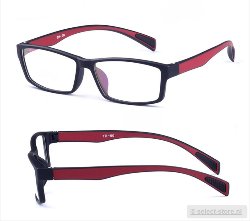 Beeldschermbril AR-Blue, Zwart/Rood montuur, diopter+0.12