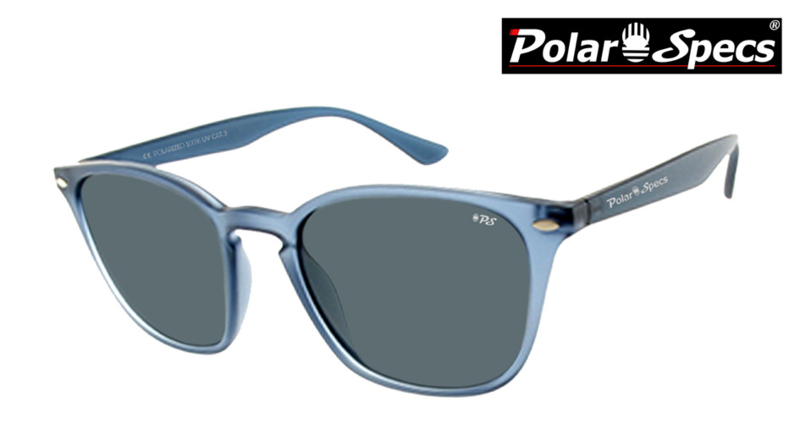 Polar Specs® Polariserende Zonnebril Calabria PS9059 – Transparent Mat Blue – Polarized Black – Medium