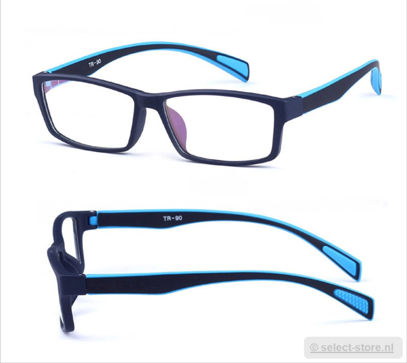 Beeldschermbril AR-Blue, Zwart/Blauw montuur, diopter+0.12