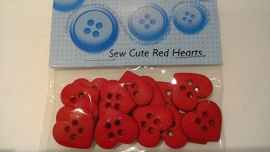 Dress It Up Sew Cute Red Hearts 1,5 cm 12 stuks