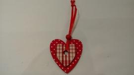 Rood houten hartjes hanger