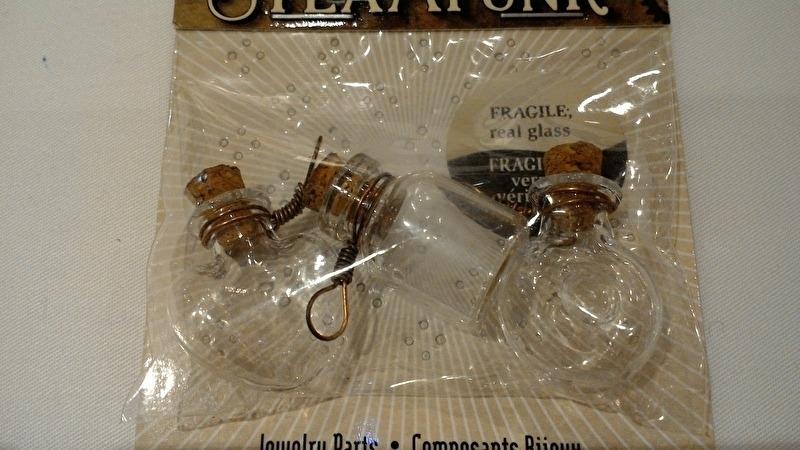 Steam Punk glazen flesjes klein 3 dlg