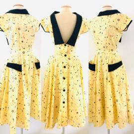 Vintage 80 ties gele Rock &Roll jurk (34/36)