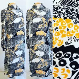 Vintage 70 ties jurkje met coll (40/42)