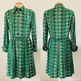 Vintage 70 ties geruite jurk met plisse (40/42)