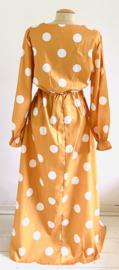 Vintage 70 Ties maxi gele polkadot jurk (42)