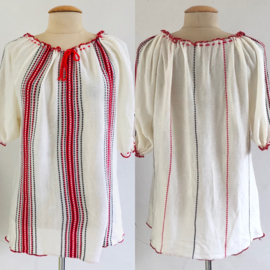 Vintage 70 ties boho Gebreide red/ white top