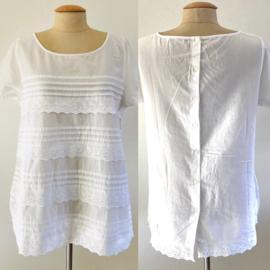 Vintage 50 Ties blouse met kant (42)