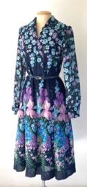 Vintage 70 Ties midi blauw bloemenjurkje (38)