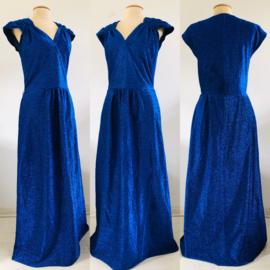 Vintage 70 ties blauwe glitter jurk