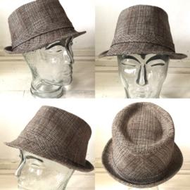 Vintage 70 ties hoed bruine ruit