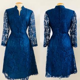 Vintage 70 ties blauw kanten jurk (38)