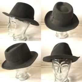 Vintage 50  jaren  grijze statson  hoed
