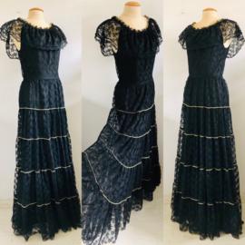 Vintage 70 ties zwart kant Bohemian jurk (36/38)