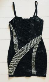 Vintage 80 ties pailletten jurk (34/36)