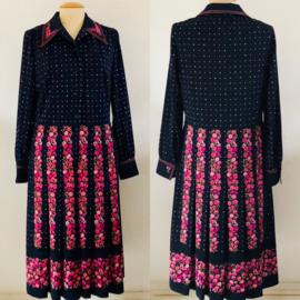 Vintage jurk met plisse en bloemen ( 40/42)