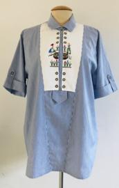 Vintage 70 ties blouse met borduursel (44/46)