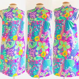 Vintage 60 ties Mini bloemen jurk (40/42)