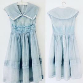 Vintage 50 ties blauw over  jurkje (34/36)