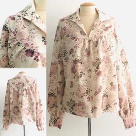 Vintage 70 ties bloemen blouse (40)