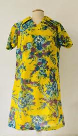 Vintage 70 ties gele jurk met bloemen (44)