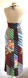 Vintage 70 ties halterjurk met fluor bloemen ( 34)