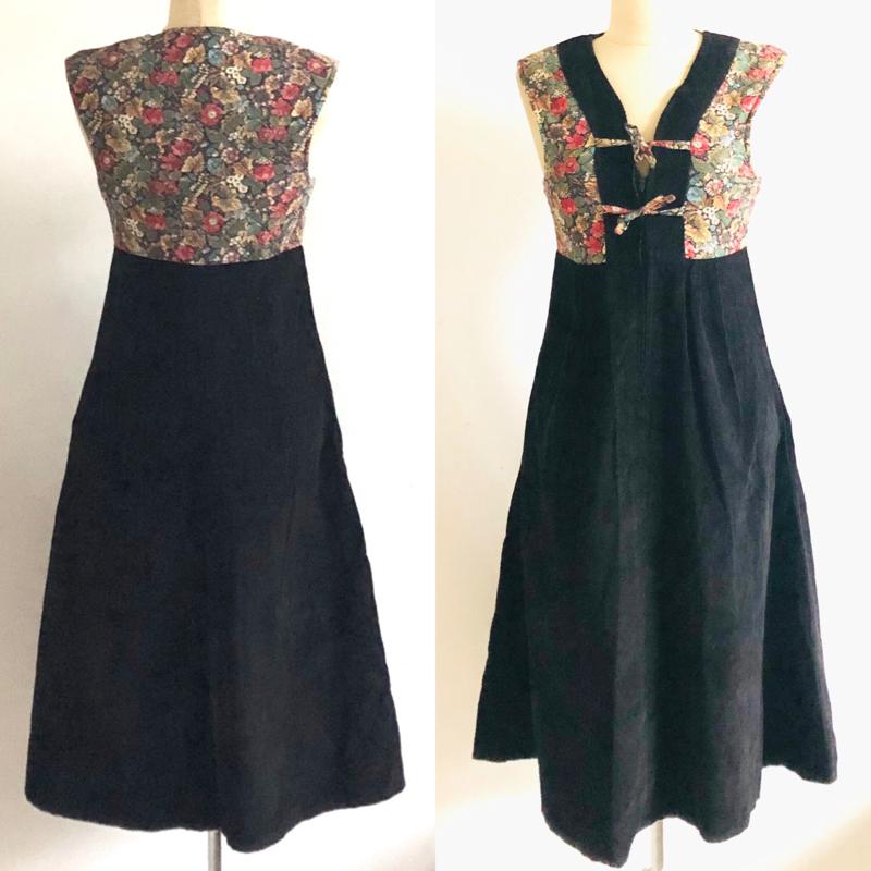 Vintage 70  corduroy boho jurk (36)