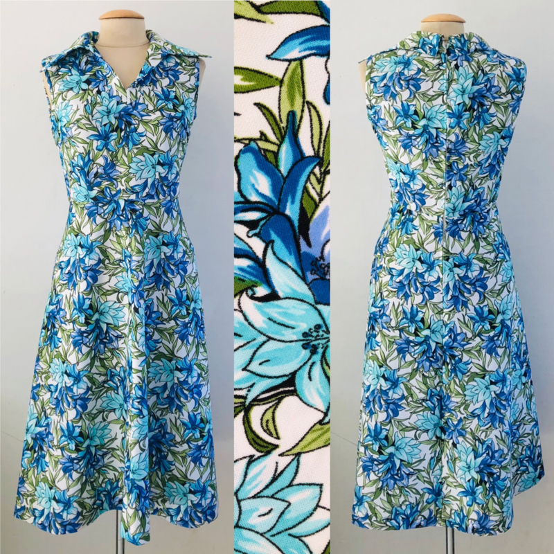 Vintage 60 ties jurkje met Orchideeen (36/38)