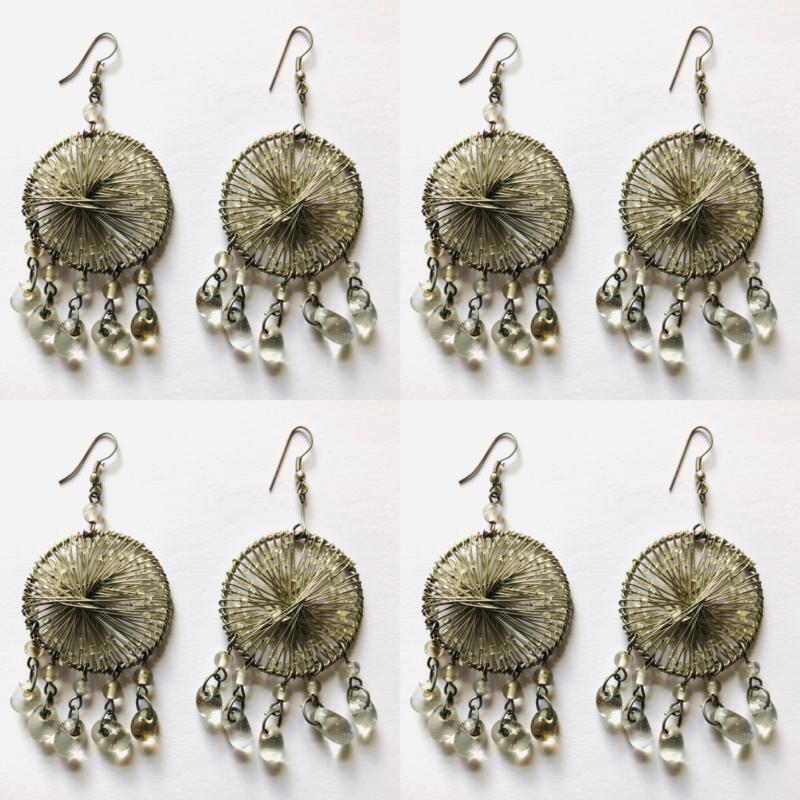 Vintage 70 ties boho zilveren oorbellen
