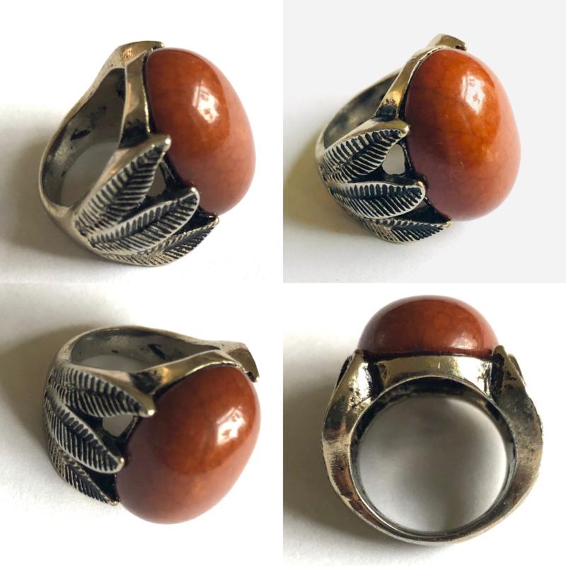 Vintage 70 ties boho ring met bruine steen