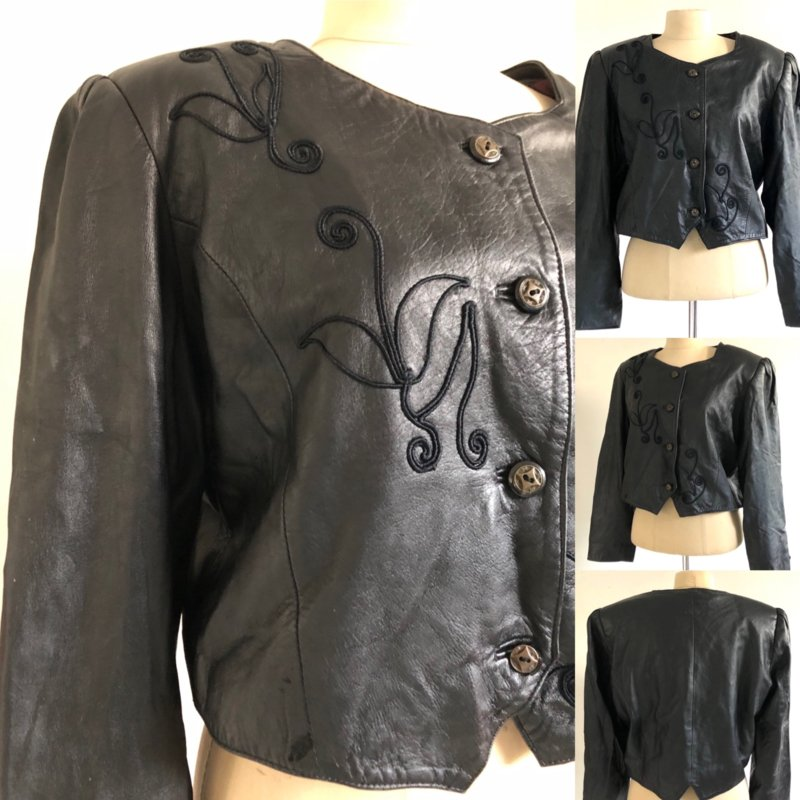Vintage 80 ties zwart leren colbert jasje (42)