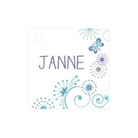 Geschenkkaartje passend bij de uitnodiging met grafische tekeningen