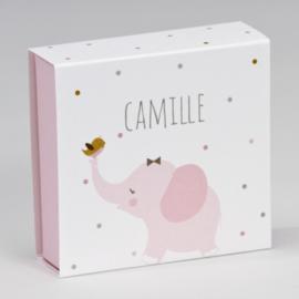Luciferdoosje roze olifantje met kleurrijke stipjes