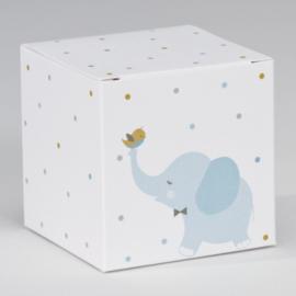 Kubus blauw olifantje met kleurrijke stipjes