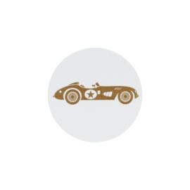 Sluitzegel bruine raceauto