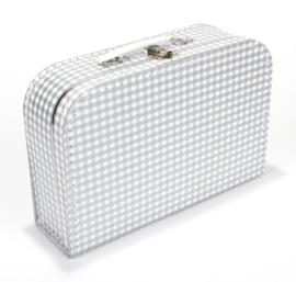 Koffertje 30cm | zilver - wit RUIT
