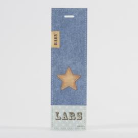 Lang label met ster en jeansmotief