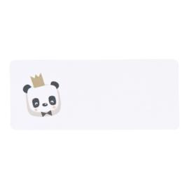Adresetiket panda met gouden kroont