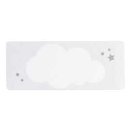 Adresetiket witte wolk met zilveren sterren