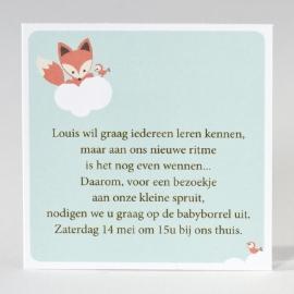 Babyborrelkaartje met vosje (set van 12 ex.)