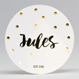Grote ronde sticker gouden confetti