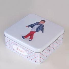vierkante blikken doos met foto